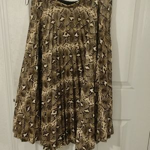 Topshop pleated faux leather snake skirt, sz 10